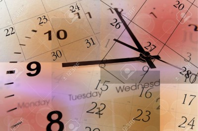 7581830-Clock-face-and-calendars-on-color-background-Stock-Photo-time-management-calendar